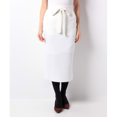 【アルアバイル】 ウールダブルフェイスパッチポケットスカート レディース オフホワイト 02 allureville
