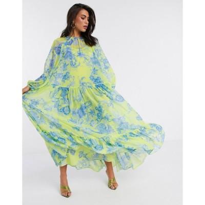 エイソス マキシドレス レディース ASOS EDITION oversized maxi dress in phoenix floral print エイソス ASOS イエロー 黄