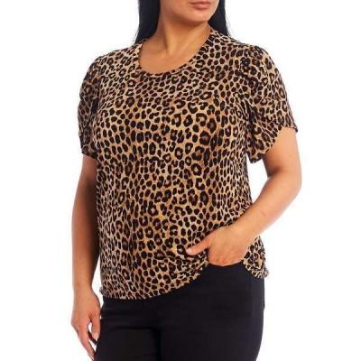 マイケルコース レディース Tシャツ トップス MICHAEL Michael Kors Plus Size Cheetah Print Lux Matte Jersey Tulip Sleeve Top Dark Camel