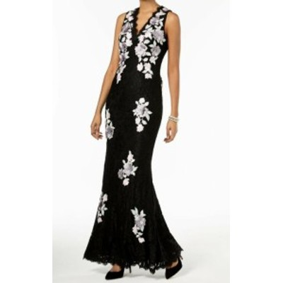 Betsy & Adam ベッツィアンドアダム ファッション ドレス Betsy & Adam NEW Black Womens Size 12 Embroidered Floral Lace Gown
