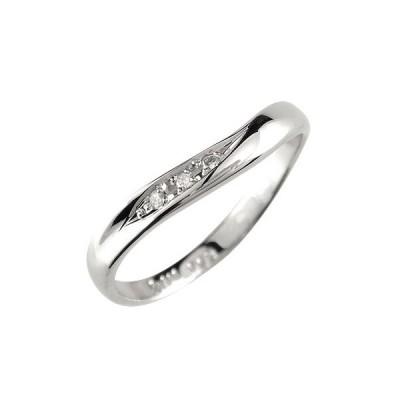 ピンキーリング V字 指輪 キュービックジルコニア リング シルバー ウェーブリング 送料無料