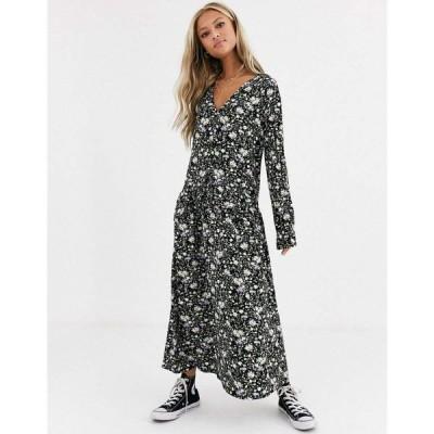 エイソス ASOS DESIGN レディース ワンピース ワンピース・ドレス ditsy print smock dress with buttons and frill ブラックフローラル