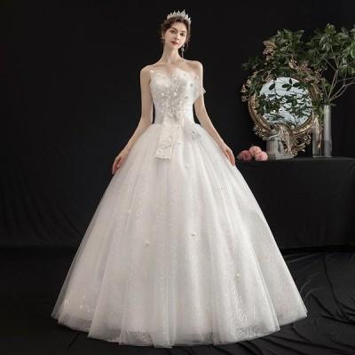 ウエディングドレス レディース プリンセスドレス 白い 編み上げ ブライダルドレス 花嫁 Aライン ロング丈 演奏会 前撮り ドレス