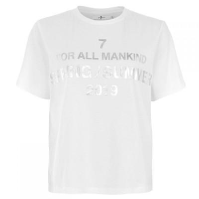 セブン フォー オール マンカインド 7 For All Mankind レディース Tシャツ トップス 7 Logo T Shirt Printed White