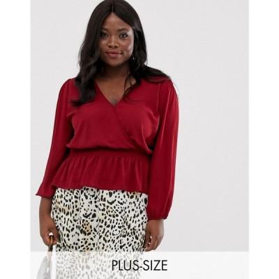 オアシス Oasis Plus レディース ブラウス・シャツ トップス oasis curve wrap front blouse レッド