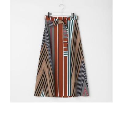 マルチストライプAラインラップスカート