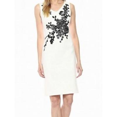 Calvin Klein カルバンクライン ファッション ドレス Calvin Klein Womens Dress White Size 14 Sheath Embroidered Floral