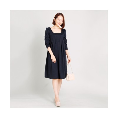 MARTHA(マーサ) スクエアネックポンチワンピース (ワンピース)Dress