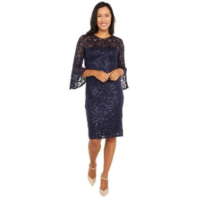マリナ レディース ワンピース トップス Sequined Lace Bell Sleeve Short Dress