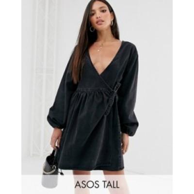 エイソス レディース ワンピース トップス ASOS DESIGN Tall denim wrap smock mini dress in black Black
