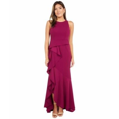 アドリアナ パペル ワンピース トップス レディース Sleeveless Long Knit Crepe Gown with Cascade Skirt Detail Burgundy Glow