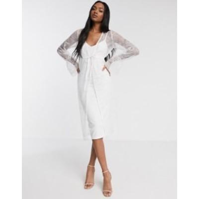 エイソス レディース ワンピース トップス ASOS DESIGN lace robe midi dress in white White