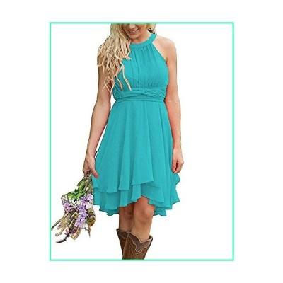 Erosebridal Short Bridesmaid Dresses Chiffon Halter Prom Dress Country Wedding Dress Turquoise 18 Plus並行輸入品
