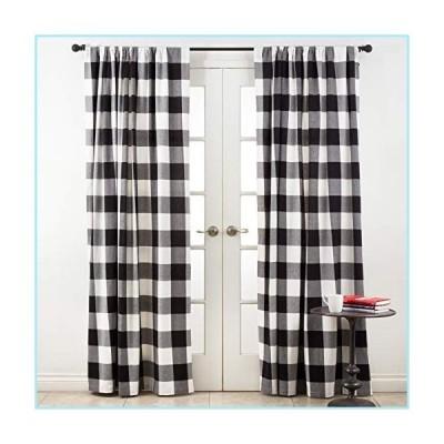 """新品SARO LIFESTYLE Birmingham Collection Buffalo Plaid Cotton Curtain Panel, 54"""" x 96"""", Black"""