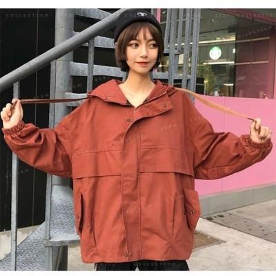 トレンチコートレディースフード付きショートジャケットブルゾン防寒防風アウトドア体型カバー