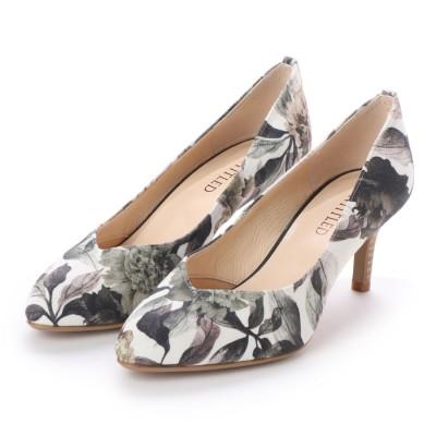 アンタイトル シューズ UNTITLED shoes Vカットパンプス (ダークブラウンファブリックコンビ)