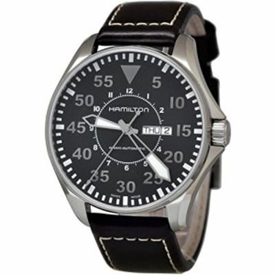 腕時計 ハミルトン メンズ Hamilton Khaki Pilot Black Dial Leather Strap Men's Watch H64715535