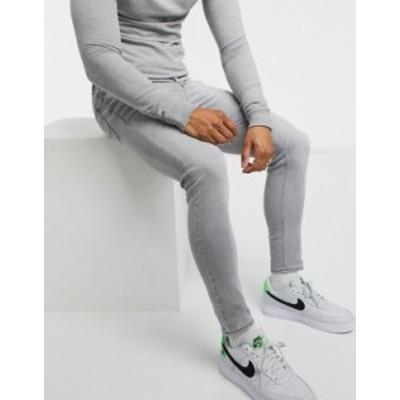 エイソス メンズ デニムパンツ ボトムス ASOS DESIGN superskinny ankle-grazer jeans in light gray Light gray