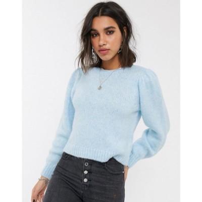 オンリー Only レディース ニット・セーター トップス knitted jumper with puff sleeves in blue ブルー