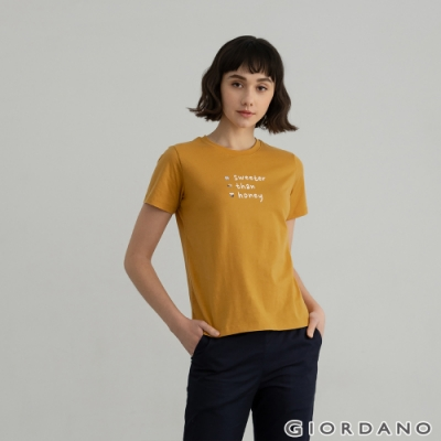 GIORDANO  女裝Positive印花T恤 - 82 水仙黄