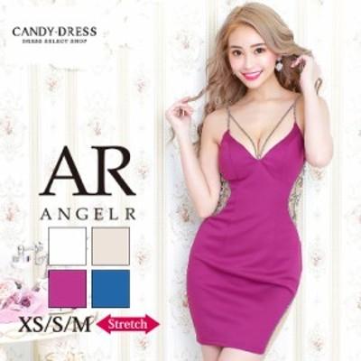XS/S/M 送料無料 Angel R/エンジェルアール ストレッチ無地×シースルービジューデザインキャミスリーブタイトミニドレス AR20227 キャバ