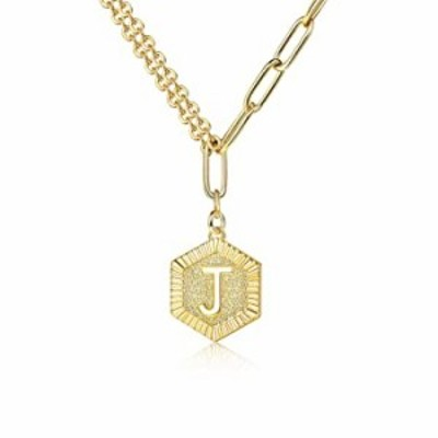 YADOCA Hexagon Initial Necklace for Men Women Name Alphabet Letter Pendant Necklace Lucky Charm Necklace Gold Double Chain 16+2i