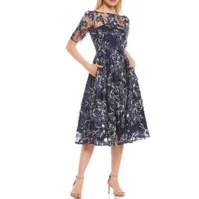 エリザジェイ レディース ワンピース トップス Illusion Neck Embroidered Lace Midi Dress Navy