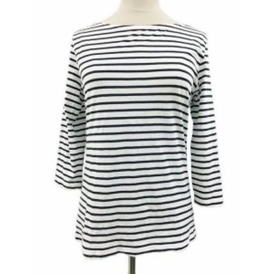 【中古】アンタイトル UNTITLED Tシャツ カットソー ボートネック ボーダー 七分袖 2 白 紺 ホワイト ネイビー