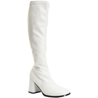 ブーツ シューズ 靴 海外セレクション FUNTASMA レディース Block ヒール Side ジッパー ニーハイ ブーツ GOGO-300 WHITE Str Pat