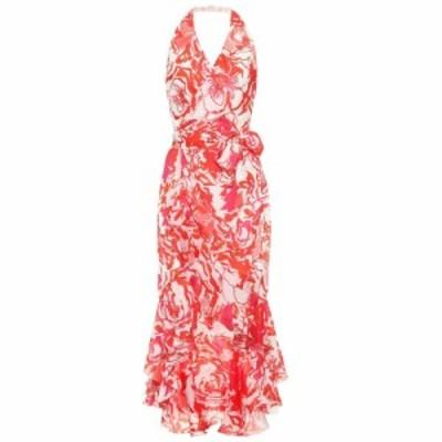 ロベルト カヴァリ Roberto Cavalli レディース ワンピース ワンピース・ドレス Floral-printed silk midi dress Hydrangea