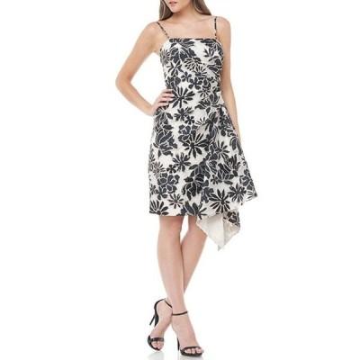 カルメンマークヴァルヴォ レディース ワンピース トップス Floral Organza Jacquard Ruffle Front Square Neck Sleeveless Sheath Dress