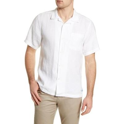 トミー バハマ TOMMY BAHAMA メンズ 半袖シャツ トップス Sea Glass Short Sleeve Button-Up Linen Camp Shirt White