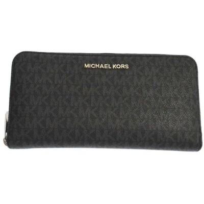 MICHAEL KORS(マイケルコース)モノグラムラウンドジップウォレット ブラック 長財布