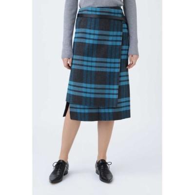 ADORE/アドーア リバービッグチェックタイトスカート ブルー 38