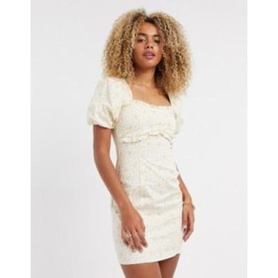 トップショップ レディース ワンピース トップス Topshop mini dress with puff sleeves in ditsy print Multi