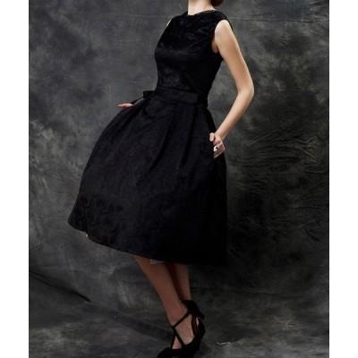 ドレス ラウンドネック ノースリーブ レトロ ブラック サイズ豊富