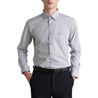 ソフト光沢のストレッチスリムフィットプリントワイシャツ、デパート系プレミアム、形態安定性、いい着心地、長袖, メンズ(s2103102028)