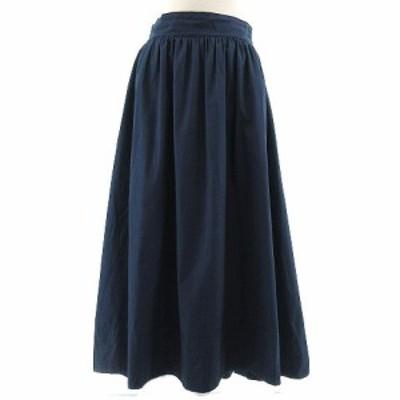【中古】クロアジュール Croisiere スカート ギャザースカート ミモレ丈 コットン ネイビー系 紺系 M レディース