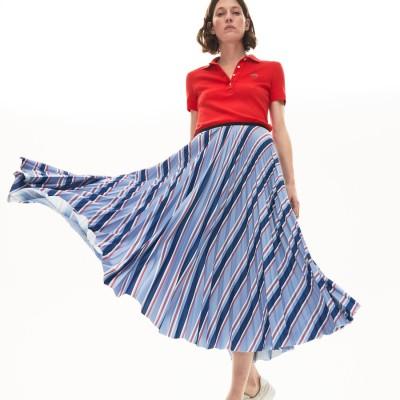 ラコステ LACOSTE マルチカラーストライププリーツスカート (ブルー)