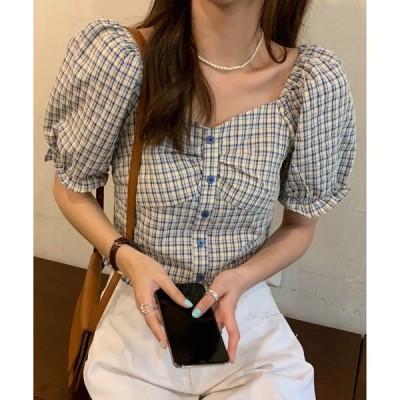 tシャツ Tシャツ SONYUNARA(ソニョナラ)ハートネックチェック半袖ブラウス