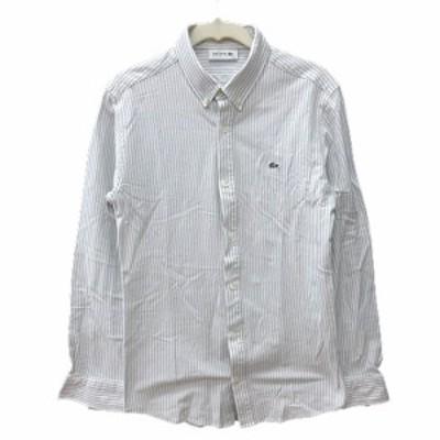 【中古】ラコステ LACOSTE シャツ ボタンダウン ストライプ 長袖 3 グレー 白 ホワイト /AU メンズ