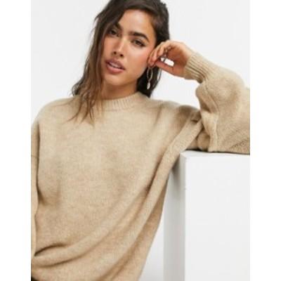 エイソス レディース ニット・セーター アウター ASOS DESIGN crew neck fluffy oversized sweater Camel