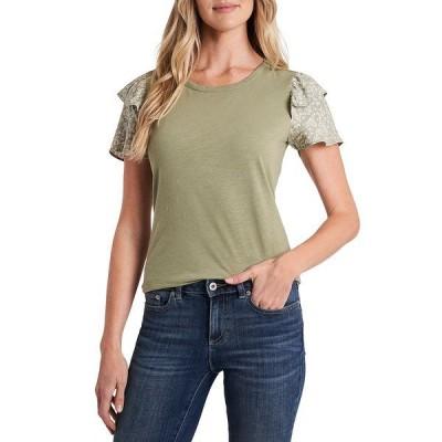 セセ レディース Tシャツ トップス Mixed Media Floral Short Sleeve Knit Tee Pale Jade