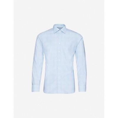 イートン ETON メンズ シャツ スキニー・スリム スリム トップス Checked slim-fit cotton and lyocell-blend shirt Blue