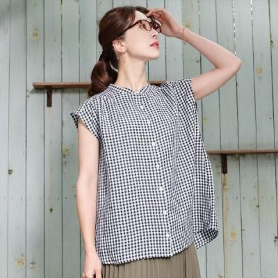 レディース ウィメンズシャツ カジュアル フレンチスリーブ スタンド衿 麻100% 白×黒チェック