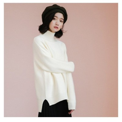 シンプル セーター ニット ハイネック スリット入り 2色