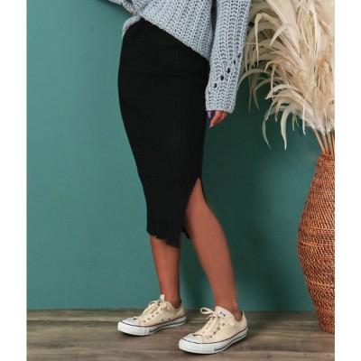 anap mimpi デザインニットスリットスカート(ブラック)