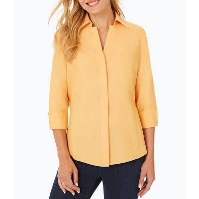 フォックスクラフト レディース シャツ トップス Taylor Solid Pinpoint Oxford Non-Iron Fitted Button Front Shirt
