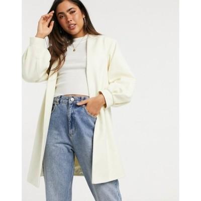 ヘレンベーマン レディース コート アウター Helene Berman volume sleeve short wool blend coat in cream
