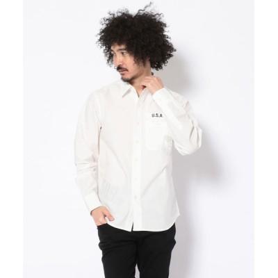 AVIREX / 長袖 シンプル プリント ポケットシャツ/L/S  SINPLE PRINT POCKET SHIRT MEN トップス > シャツ/ブラウス
